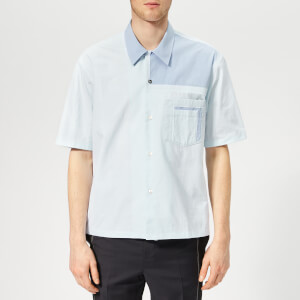 Maison Margiela Men's Tumbled Canvas Short Sleeve Shirt - Light Blue