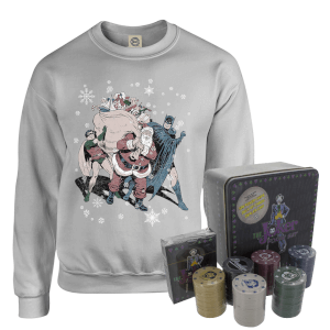 DC Batman And Robin Santa Claus Christmas Jumper And Joker Poker Bundle - Grey