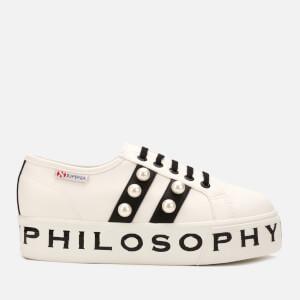 Philosophy di Lorenzo Serafini X Superga Women's Pearl Detail Platform Trainers - White/Black