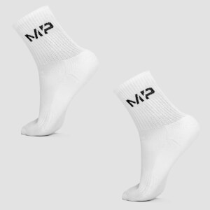 MP Men's Essentials Crew Socks - White (2 Pack)
