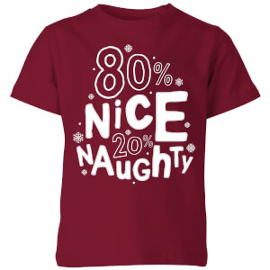 80% Nice 20% Naughty Kids' T-Shirt - Burgundy