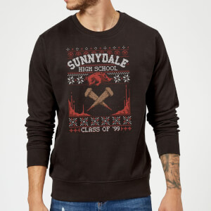 Buffy The Vampire Slayer Sunnydale Pattern Christmas Sweater - Black