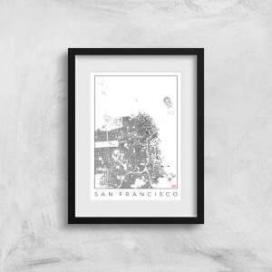 City Art Black and White San Francisco Map Art Print