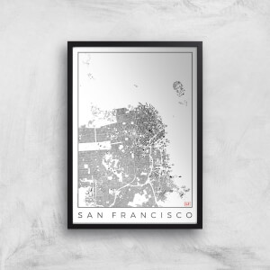 City Art Black and White San Francisco Map Art Print