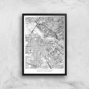 City Art Black and White Outlined Amsterdam Map Art Print