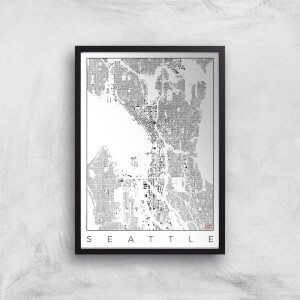 City Art Black and White Seattle Map Art Print