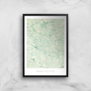 City Art Coloured Manchester Map Art Print