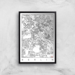 City Art Black and White Berlin Map Art Print