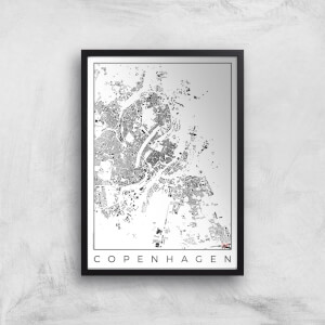 City Art Black and White Copenhagen Map Art Print