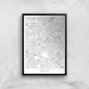 City Art Black and White Outlined Berlin Map Art Print
