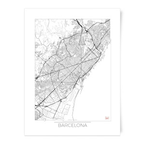 Black and White Outlined Barcelona Map Art Print