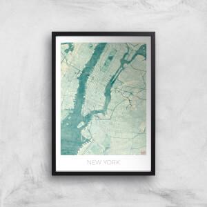 Affiche Carte de New York (Couleur)