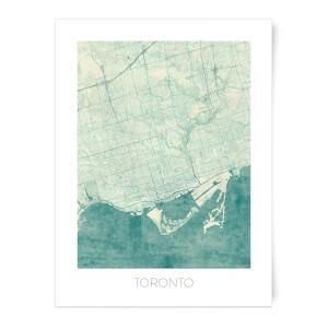 City Art Coloured Toronto Map Art Print
