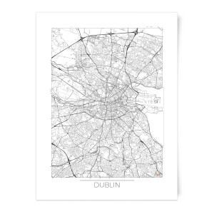 Black and White Outlined Dublin Map Art Print