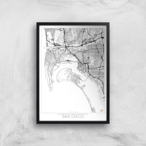 City Art Black and White Outlined San Diego Map Art Print