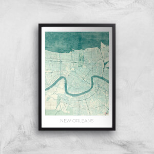 City Art Coloured New Orleans Map Art Print