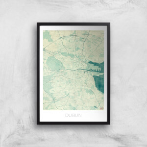 City Art Coloured Dublin Map Art Print