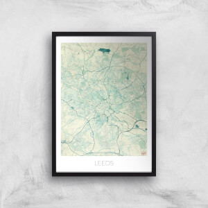 City Art Coloured Leeds Map Art Print