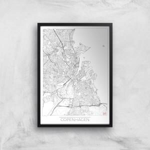 City Art Black and White Outlined Copenhagen Map Art Print