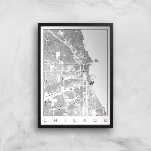 City Art Black and White Chicago Map Art Print