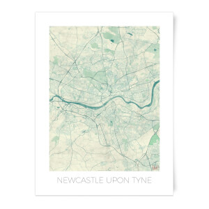 Coloured Newcastle Map Art Print