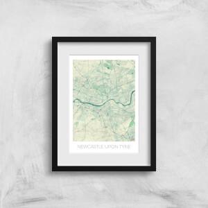 City Art Coloured Newcastle Map Art Print