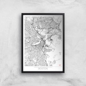 City Art Black and White Outlined Boston Map Art Print
