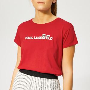 Karl Lagerfeld Women's Ikonik & Logo T-Shirt - Barbados Cherry