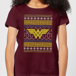 DC Wonder Woman Knit Damen Christmas T-Shirt - Burgunderrot