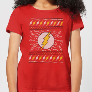 T-Shirt DC Flash Knit Christmas - Rosso - Donna