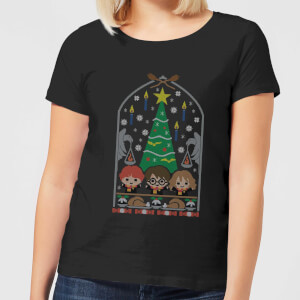 Harry Potter Hogwarts Tree Women's Christmas T-Shirt - Black