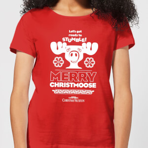 National Lampoon Merry Christmoose Women's Christmas T-Shirt - Red