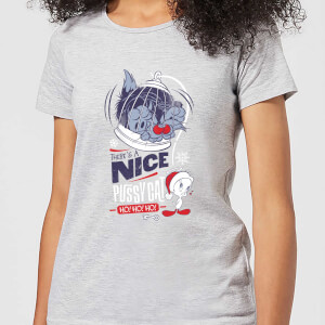 Looney Tunes Tweety Pie Pussy Cat Women's Christmas T-Shirt - Grey