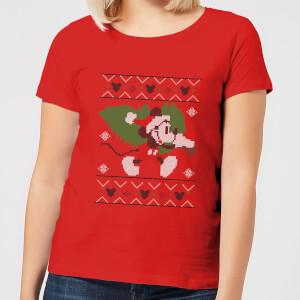 Disney Tree Mickey Women's Christmas T-Shirt - Red