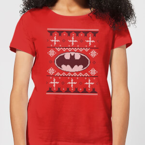 DC Batman Knit Women's Christmas T-Shirt - Red