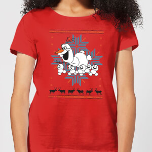 Disney Frozen Olaf and Snowmen Women's Christmas T-Shirt - Red