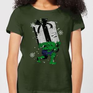 Marvel The Incredible Hulk Christmas Present Women's Christmas T-Shirt - Forest Green