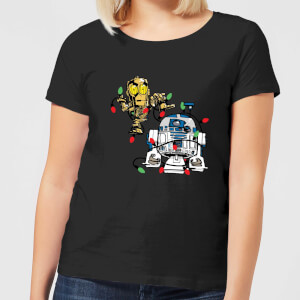 T-Shirt Star Wars Tangled Fairy Lights Droids Christmas- Nero - Donna