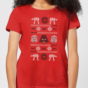 Star Wars Imperial Knit Women's Christmas T-Shirt - Red