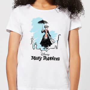 T-Shirt Mary Poppins Rooftop Landing Christmas - Bianco - Donna