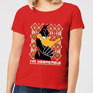 T-Shirt Looney Tunes Daffy Duck Knit Christmas - Rosso - Donna