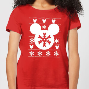 Disney Snowflake Silhouette Women's Christmas T-Shirt - Red