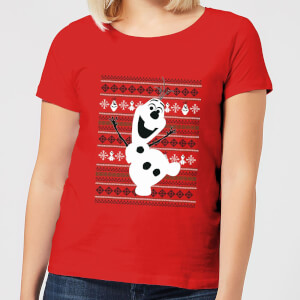 Disney Frozen Olaf Dancing Women's Christmas T-Shirt - Red