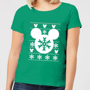 Disney Snowflake Silhouette Women's Christmas T-Shirt - Kelly Green