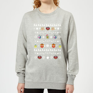 Muppets Pattern Women's Christmas Sweater - Grey