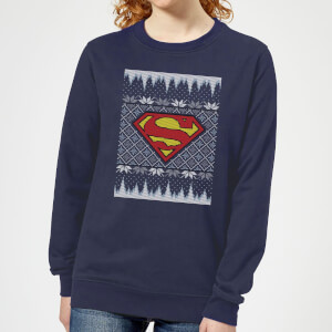 DC Superman Knit Women's Christmas Sweatshirt - Navy
