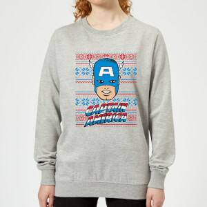 Marvel Captain America Face Women's Christmas Sweatshirt - Grey