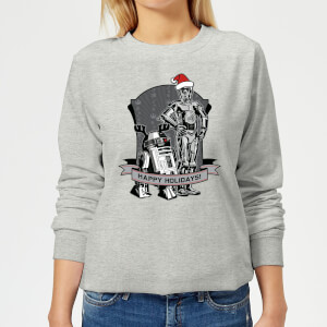 Star Wars Happy Holidays Droids Women's Christmas Sweater - Grey