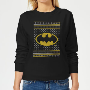 DC Batman Knit Women's Christmas Sweatshirt - Black