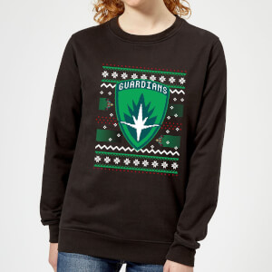 Guardians Of The Galaxy Badge Pattern Christmas Women's Christmas Sweatshirt - Black